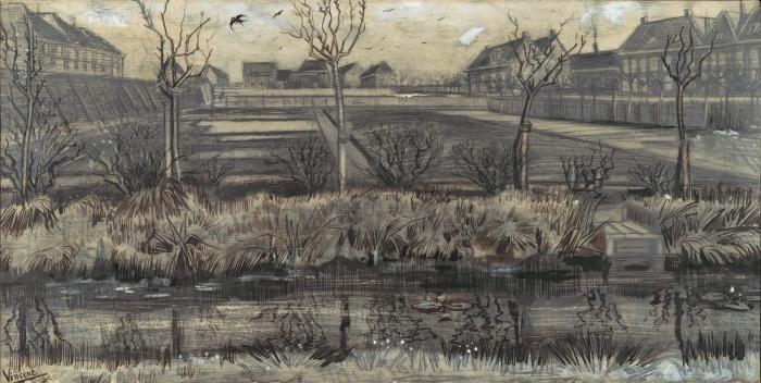 Sticker Pixerstick Vincent van Gogh - Garderie sur Schenkweg - Reproductions
