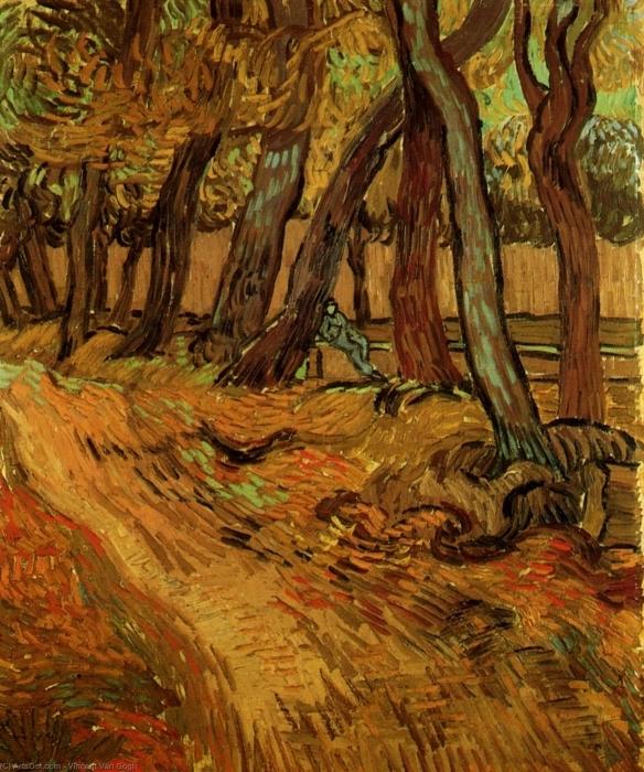 Papier peint vinyle Vincent van Gogh - Le Jardin de Saint-Paul Hospital avec la figure - Reproductions