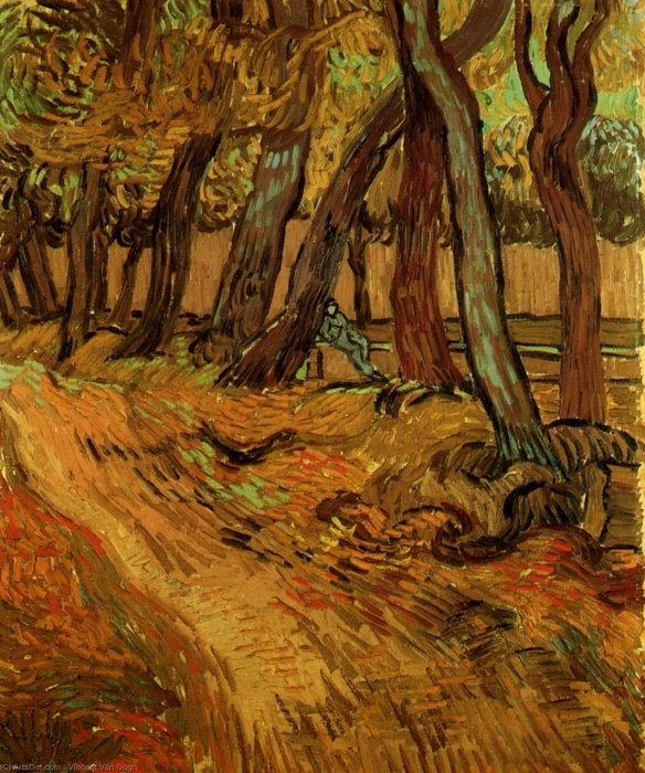 Vincent van Gogh - The Garden of Saint-Paul Hospital with Figure Pixerstick Sticker - Reproductions