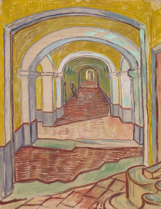 Pixerstick Aufkleber Vincent van Gogh - Korridor im Asyl - Reproductions
