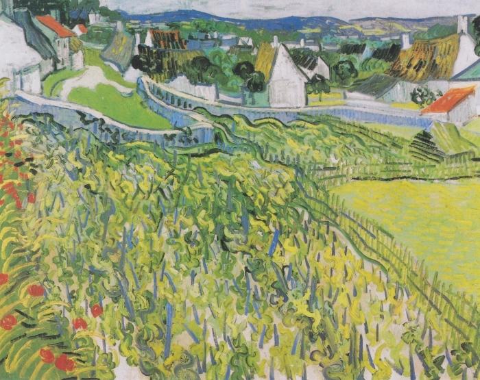 Naklejka Pixerstick Vincent van Gogh - Winnice w Auvers - Reproductions