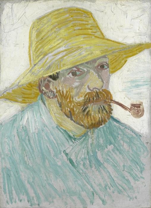 Fototapeta winylowa Vincent van Gogh - Autoportret z fajką i słomianym kapeluszem - Reproductions