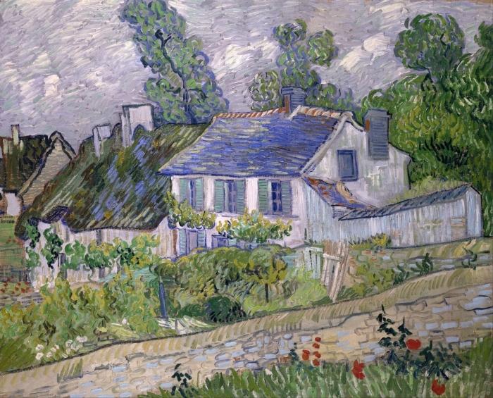 Papier peint vinyle Vincent van Gogh - Maisons à Auvers - Reproductions