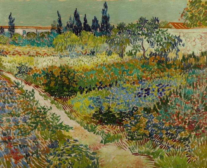 Vincent van Gogh - Flowering Garden with Path Pixerstick Sticker - Reproductions