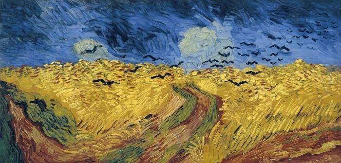 Sticker Pixerstick Vincent van Gogh - Champ de blé aux corbeaux - Reproductions
