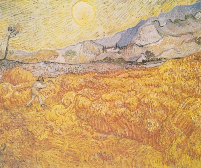 Vincent van Gogh - Harvest Pixerstick Sticker - Reproductions