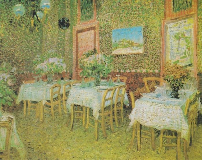 Sticker Pixerstick Vincent van Gogh - Intérieur d'un restaurant - Reproductions