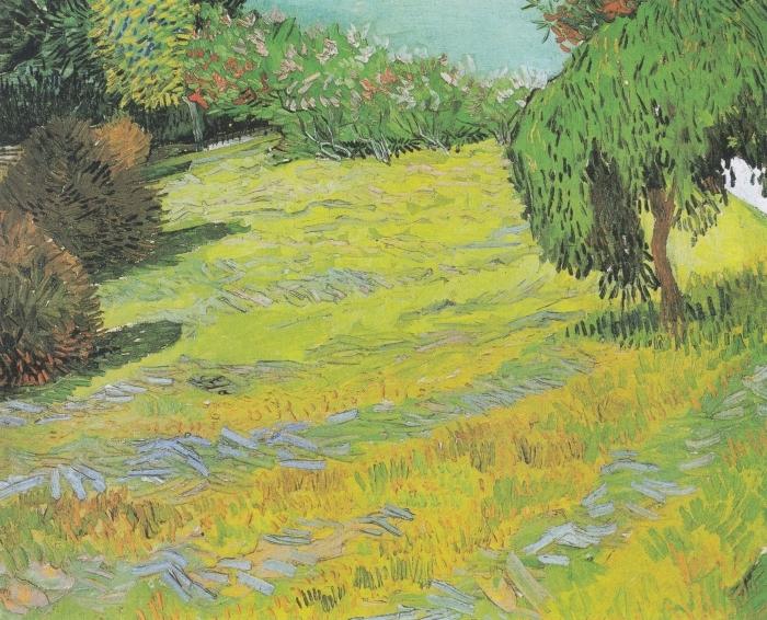 Naklejka Pixerstick Vincent van Gogh - Słoneczny trawnik w parku - Reproductions