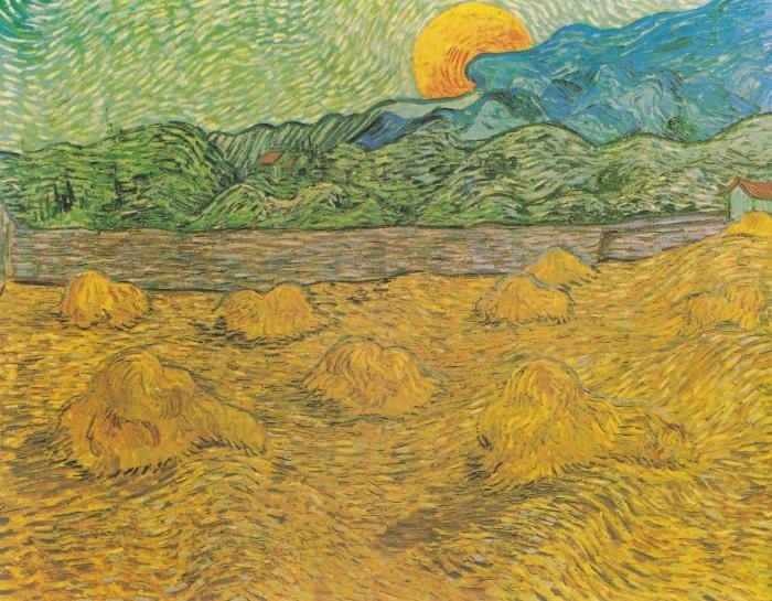 Papier peint vinyle Vincent van Gogh - Paysage de Soirée avec Lune Montante - Reproductions