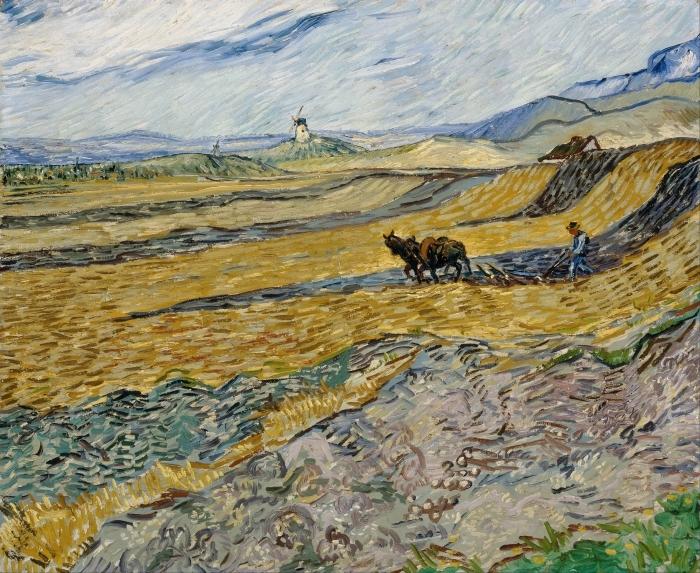 Pixerstick Aufkleber Vincent van Gogh - Acker mit pflügendem Bauern und Mühle - Reproductions