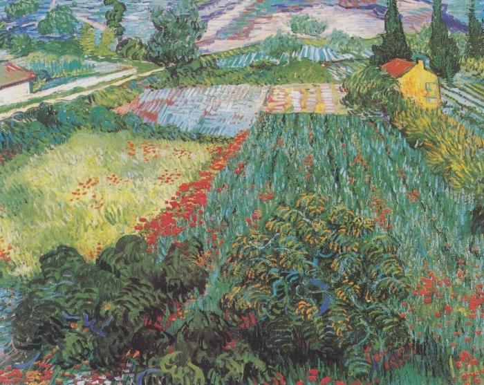 Pixerstick Aufkleber Vincent van Gogh - Feld mit Mohnblumen - Reproductions