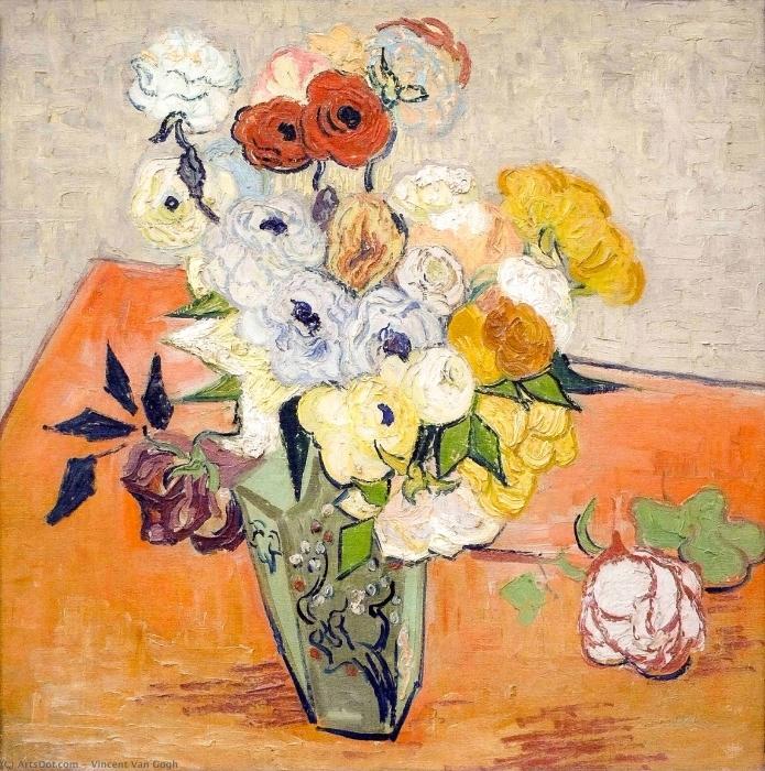Vinyl Fotobehang Vincent van Gogh - Stilleven - Japanse vaas met rozen en anemonen - Reproductions