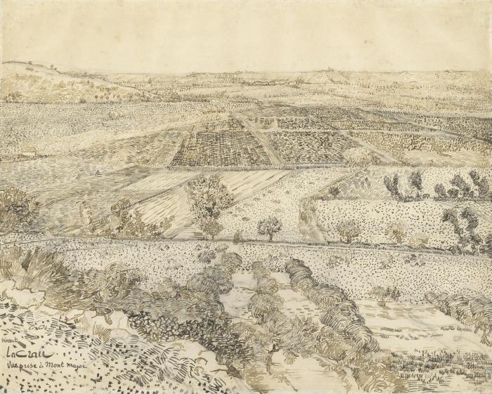 Vincent van Gogh - Näkymä la Crau alkaen Montmajour Pixerstick tarra - Reproductions