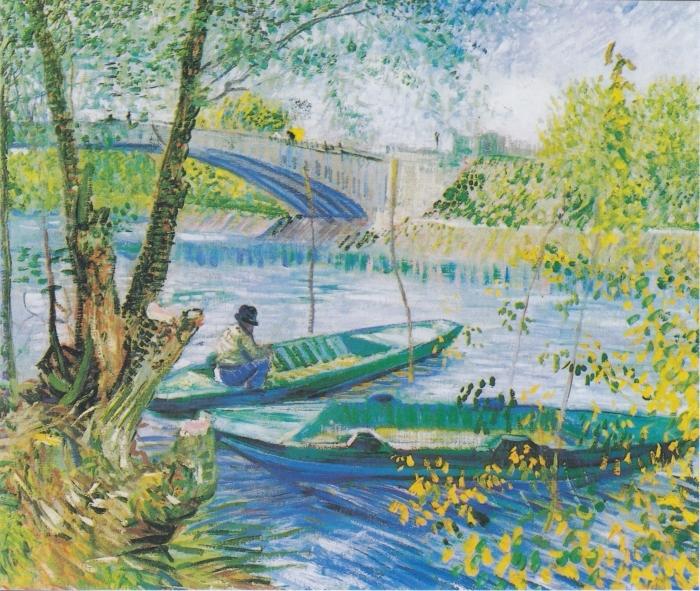 Vincent van Gogh - Fishing in Spring Pixerstick Sticker - Reproductions
