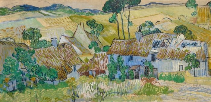 Naklejka Pixerstick Vincent van Gogh - Gospodarstwa niedaleko Auvers - Reproductions