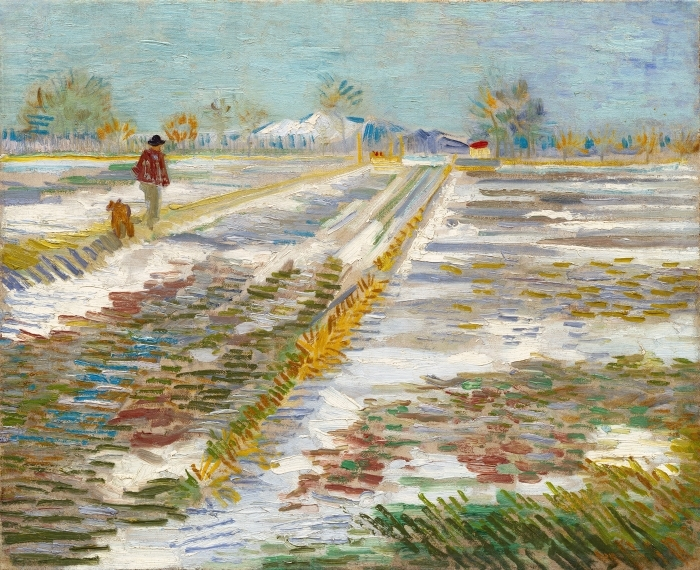 Naklejka Pixerstick Vincent van Gogh - Krajobraz ze śniegiem - Reproductions
