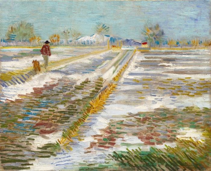 Sticker Pixerstick Vincent van Gogh - Paysage avec la neige - Reproductions