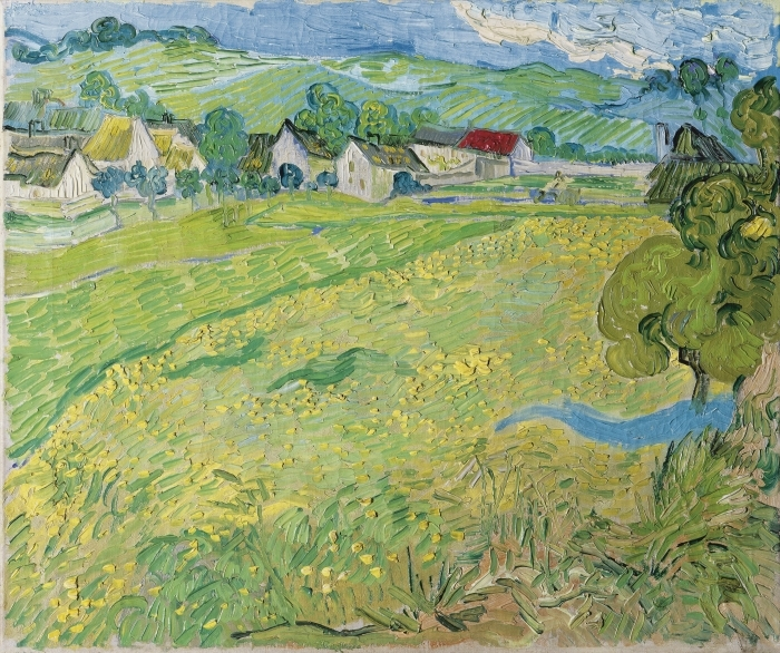 Fototapeta winylowa Vincent van Gogh - Widok na Auvers nieopodal Les Vessenots - Reproductions