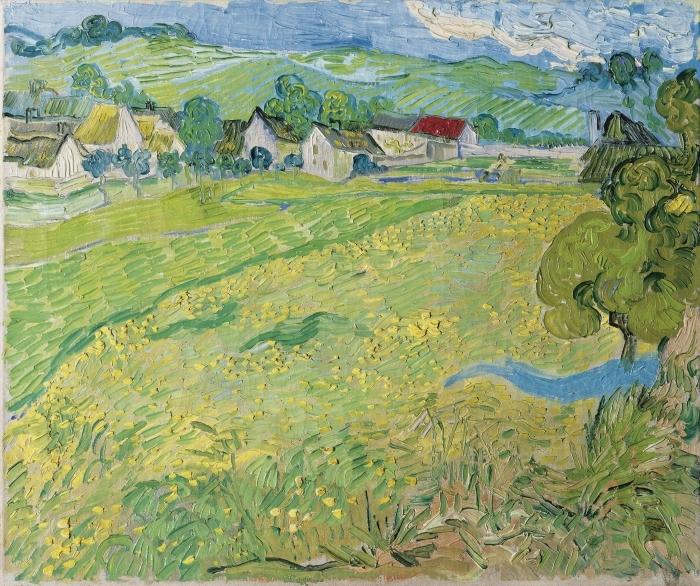 Poster Vincent van Gogh - Blick auf Auvers in der Nähe von Les Vessenots - Reproductions