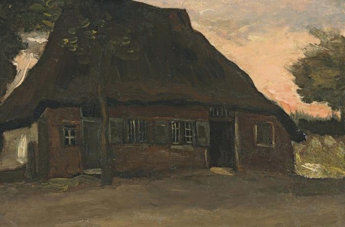 Vinyl Fotobehang Vincent van Gogh - Boerenhuis, Nuenen - Reproductions
