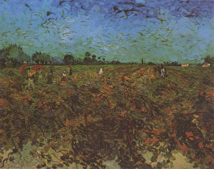 Naklejka Pixerstick Vincent van Gogh - Zielona winnica - Reproductions