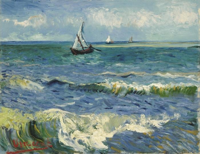 Naklejka Pixerstick Vincent van Gogh - Widok morza w Saintes-Maries - Reproductions