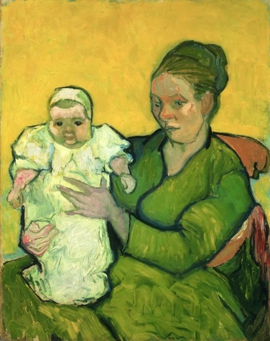 Papier peint vinyle Vincent van Gogh - Mme Roulin avec son enfant Marcelle - Reproductions