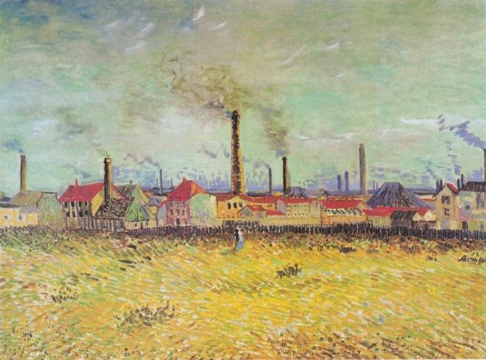 Naklejka Pixerstick Vincent van Gogh - Farbryki w Asnières - Reproductions