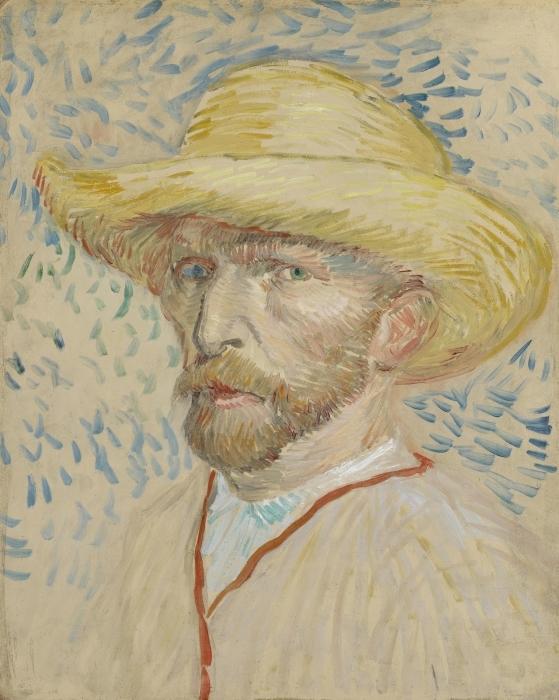 Naklejka Pixerstick Vincent van Gogh - Autoportret w słomianym kapeluszu i fartuchu - Reproductions