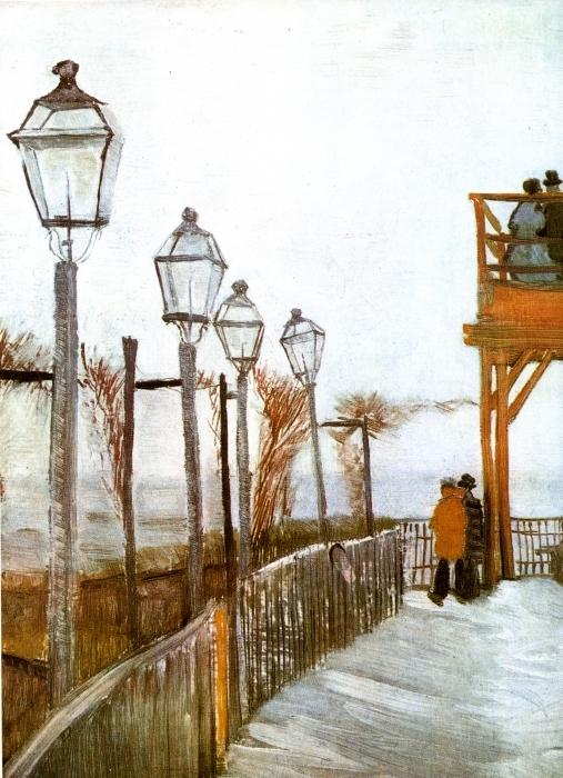 Pixerstick Aufkleber Vincent van Gogh - Terrasse und Aussichtsplattform der Mühle Le blute-fin, Montmartre - Reproductions