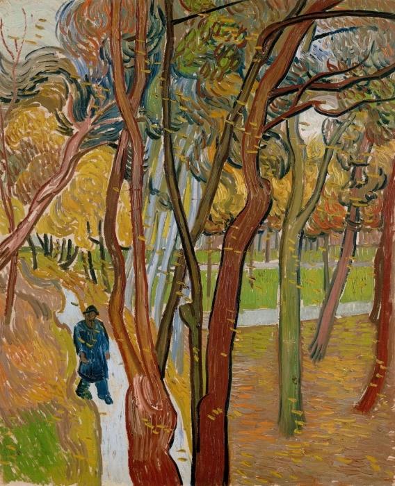 Naklejka Pixerstick Vincent van Gogh - Opadające liście - Reproductions