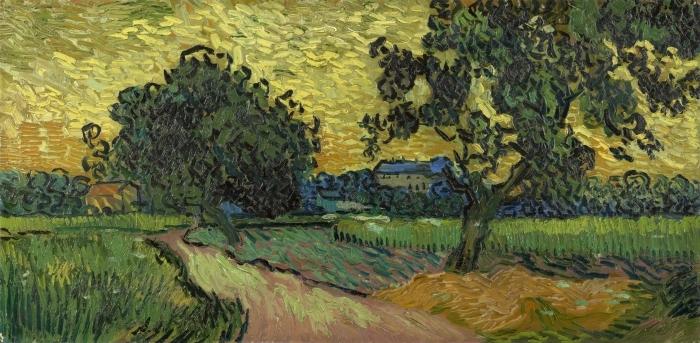 Papier peint vinyle Vincent van Gogh - Paysage avec le château d'Auvers au coucher du soleil - Reproductions