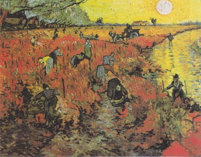 Sticker Pixerstick Vincent van Gogh - Les vignes rouges d'Arles - Reproductions