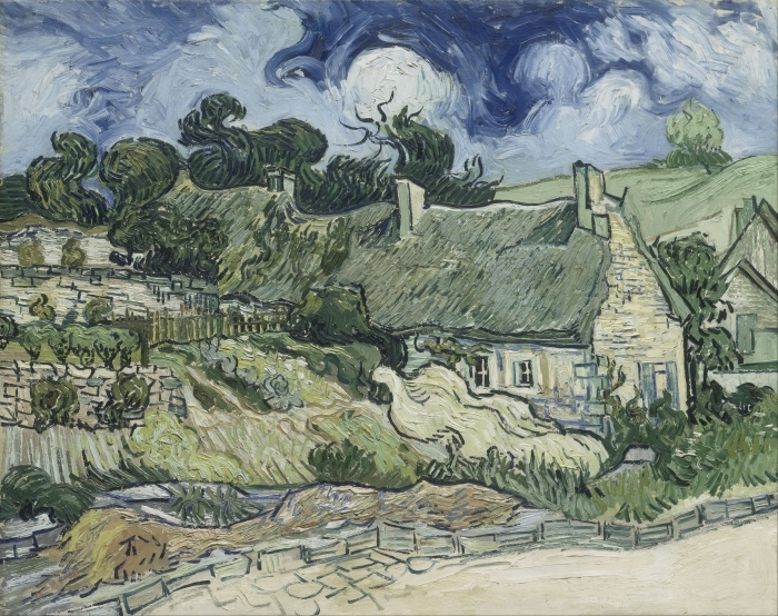 Pixerstick Aufkleber Vincent van Gogh - Landschaft mit Hütten - Reproductions