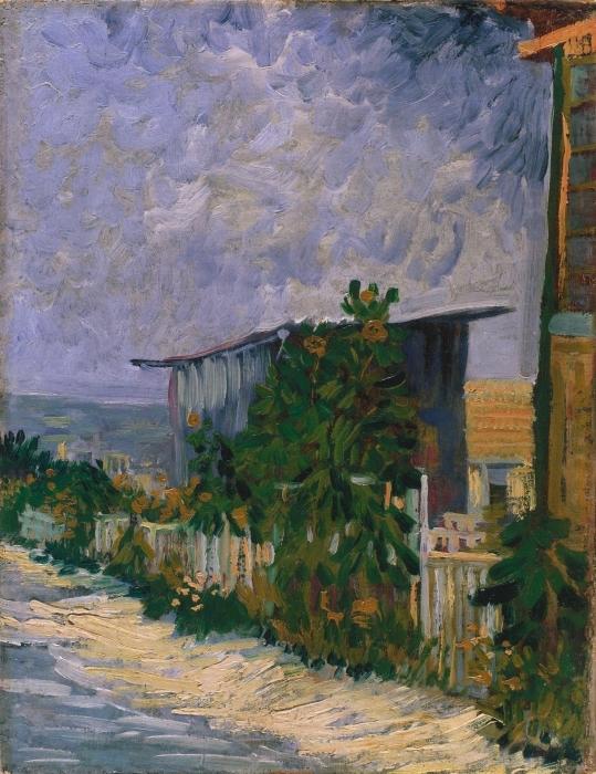 Pixerstick Aufkleber Vincent van Gogh - Schuppen am Montmartre mit Sonnonblume - Reproductions