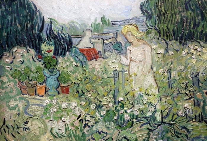Papier peint vinyle Vincent van Gogh - Mademoiselle Gachet dans son jardin à Auvers - Reproductions