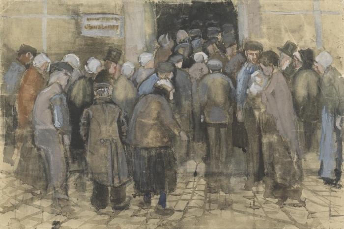 Papier peint vinyle Vincent van Gogh - faire la queue pour l'argent mal - Reproductions