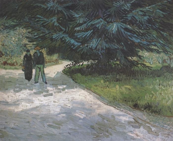 Papier peint vinyle Vincent van Gogh - Un couple dans le parc avec des sapins bleus - Reproductions