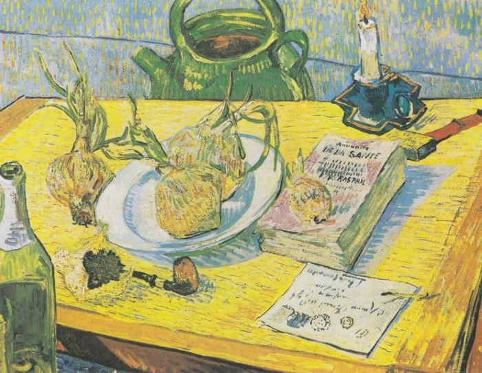 Papier peint vinyle Vincent van Gogh - Nature morte avec une bouilloire, un tuyau et d'oignons - Reproductions