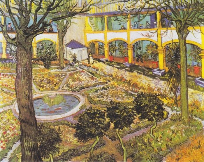 Papier peint vinyle Vincent van Gogh - Jardin de l'hôpital à Arles - Reproductions