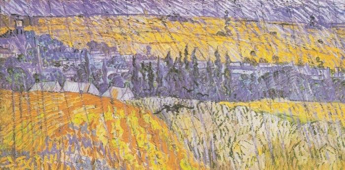 Pixerstick Sticker Vincent van Gogh - Landschap bij Auvers in de regen - Reproductions