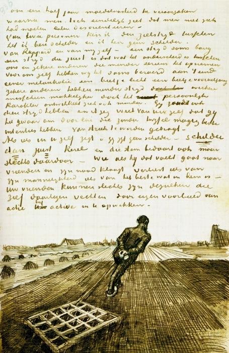 Papier peint vinyle Vincent van Gogh - Homme tirant une herse - Reproductions