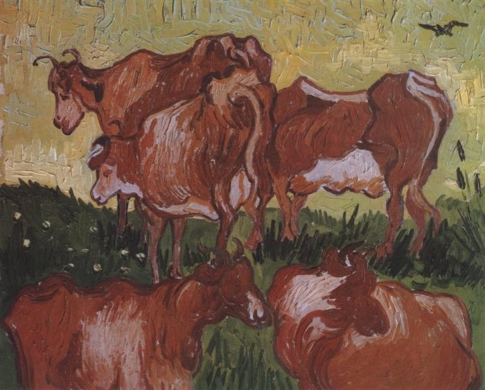 Naklejka Pixerstick Vincent van Gogh - Krowy - Reproductions