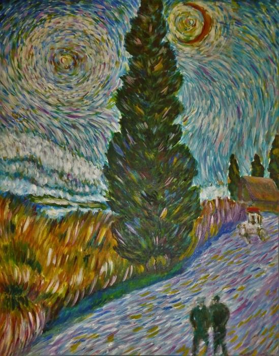 Sticker Pixerstick Vincent van Gogh - Route avec un cyprès et une étoile - Reproductions