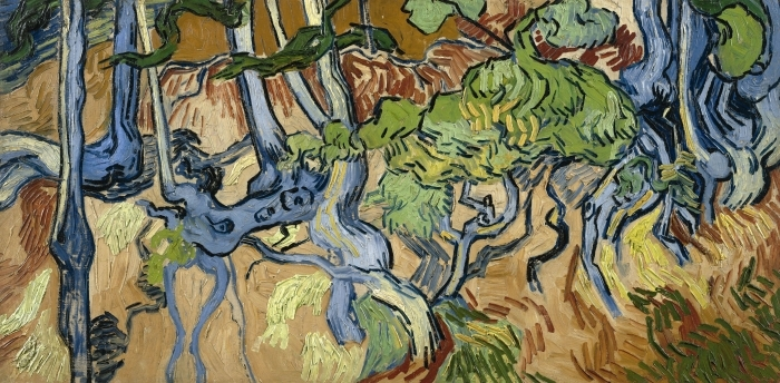 Naklejka Pixerstick Vincent van Gogh - Korzenie drzew - Reproductions