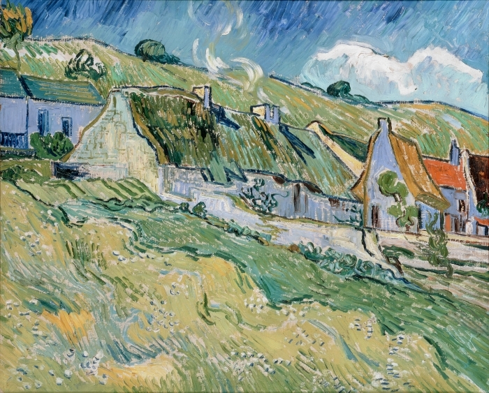 Vincent van Gogh - Cottages at Auvers-sur-Oise Pixerstick Sticker - Reproductions