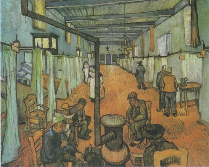 Pixerstick Sticker Vincent van Gogh - Slaapzaal in het ziekenhuis in Arles - Reproductions