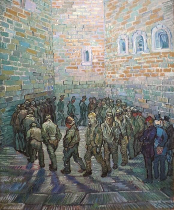 Naklejka Pixerstick Vincent van Gogh - Więźniowe na patio - Reproductions