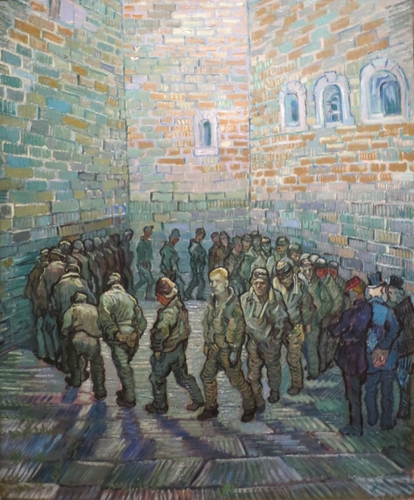 Vincent van Gogh - Prisoners on the patio Vinyl Wall Mural - Reproductions