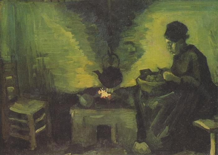 Papier peint vinyle Vincent van Gogh - Paysanne près de l'âtre - Reproductions